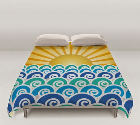 Along the Waves Blue Duvet Cover