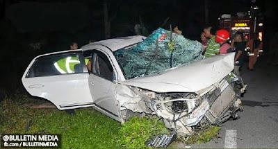 Kemalangan ngeri, tiga maut tercampak, dua tersepit di Kilometer 2 Jalan Juasseh-Bahau