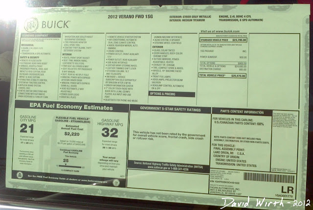 2102 buick verano, window price list, sticker, options
