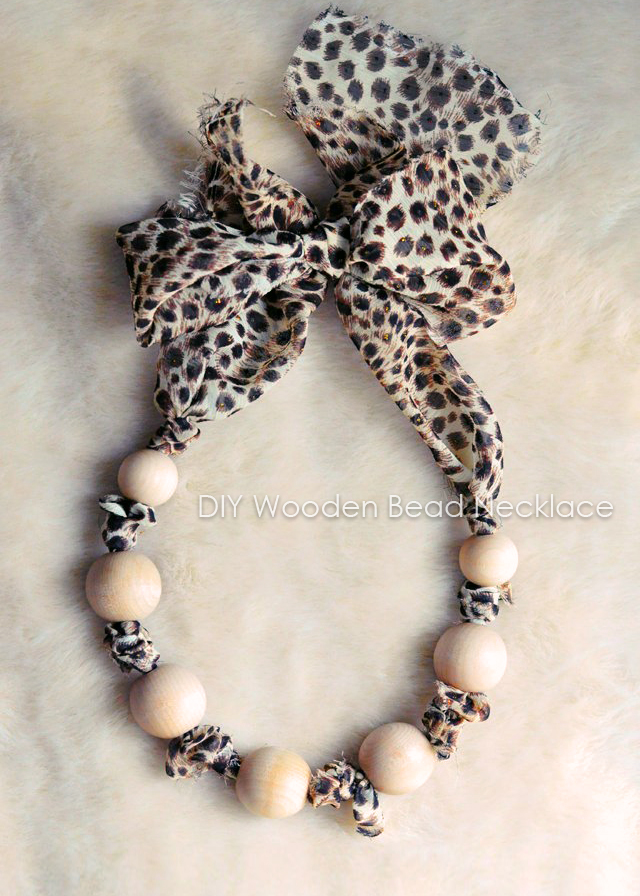 DIY gifts, leopard chiffon wooden bead necklace