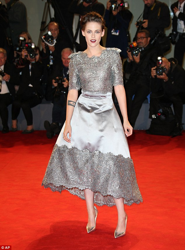 Kristen Stewart stuns in silver lace at the Equals Venice premiere