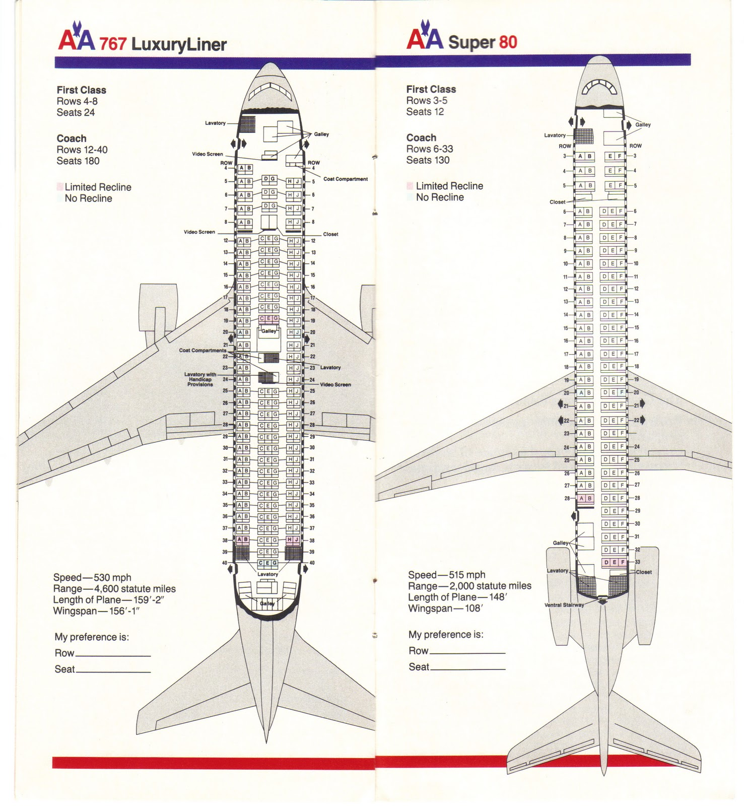 american airlines boeing 767 and md 80 seating guide map