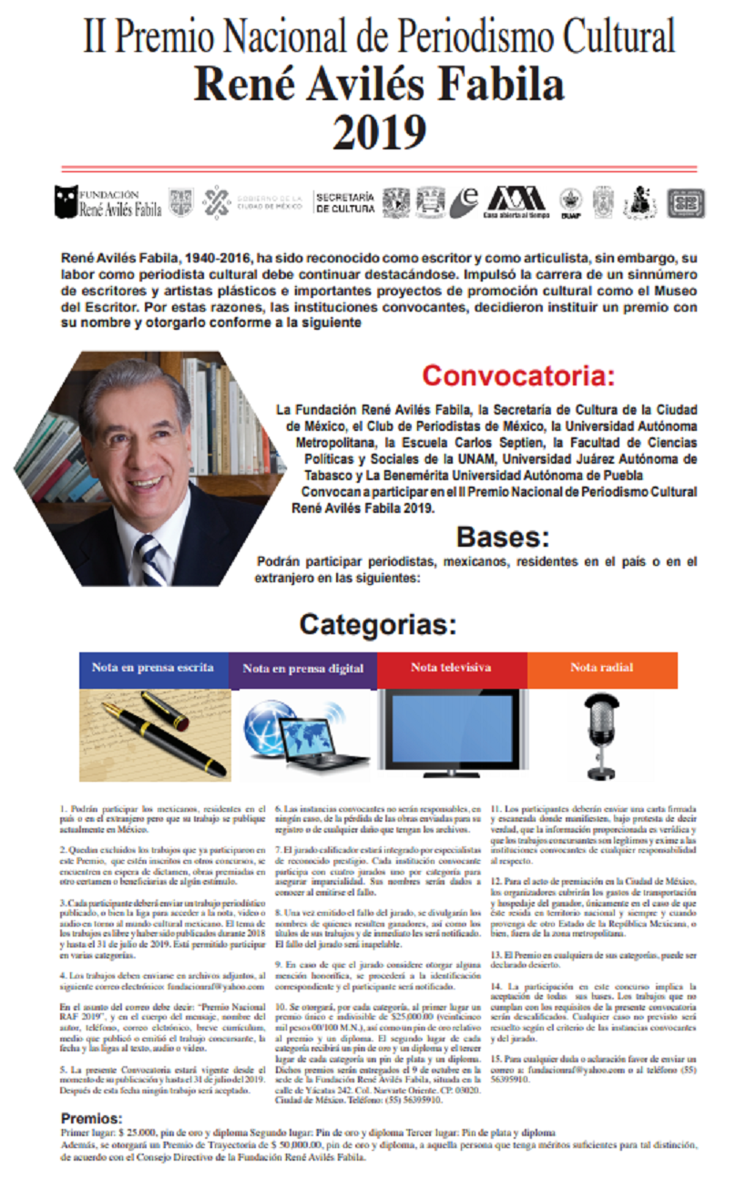II Premio Nacional de Periodismo Cultural: René Avilés Fabila 2019