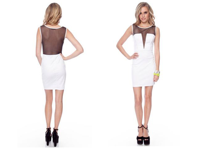 cameo undercover mesh dress in white from tobi, white mesh dress, sexy white dress, mesh back white dress, tobi