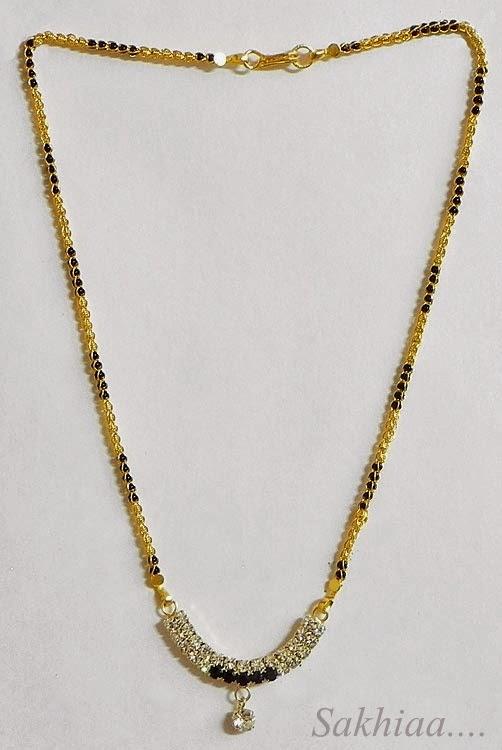 sakhiaa white american diamond studded mangalasutra