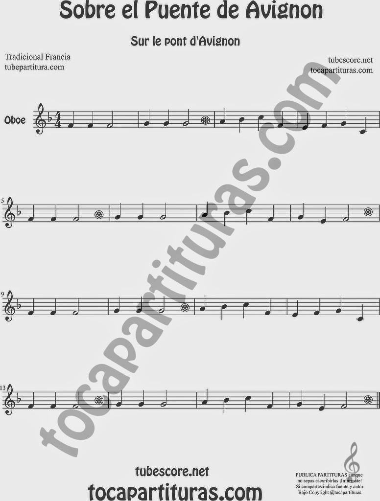 Sobre el Puente de Avignon Partitura de Oboe Sheet Music for Oboe Music Score Sur le Pont d'Avignon Popular