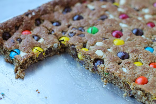 Monster Cookie Bars - so chewy and packed with goodies