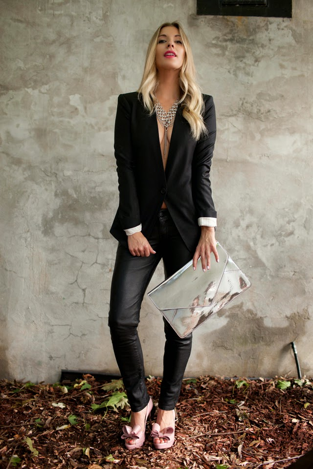 shop for jayu necklace, silver necklace, open chest blazer, metallic clutch, All Saints leather pants, pink bow Valentino's