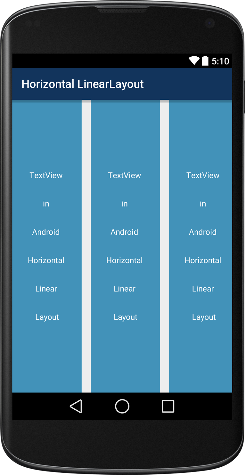 Android Horizontal Linear Layout Example