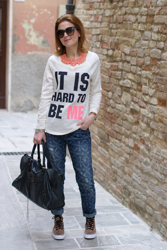 It's hard to be me sweatshirt, ethnic print boyfriend jeans, Fashion and Cookies