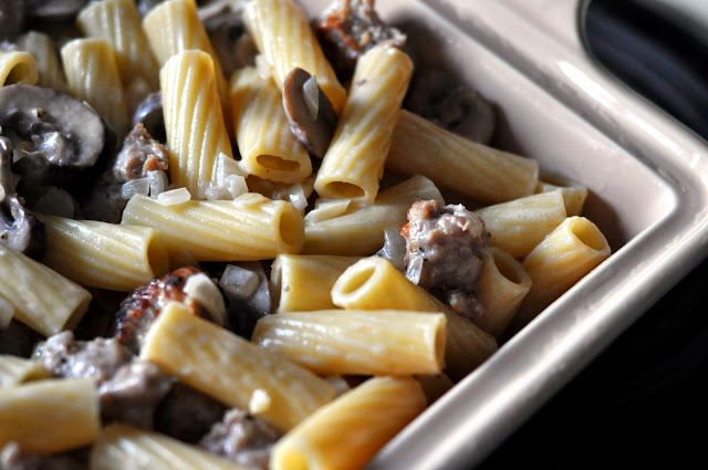 Baked Pasta with Sausage, Mushrooms, and Mascarpone | Taste As You Go