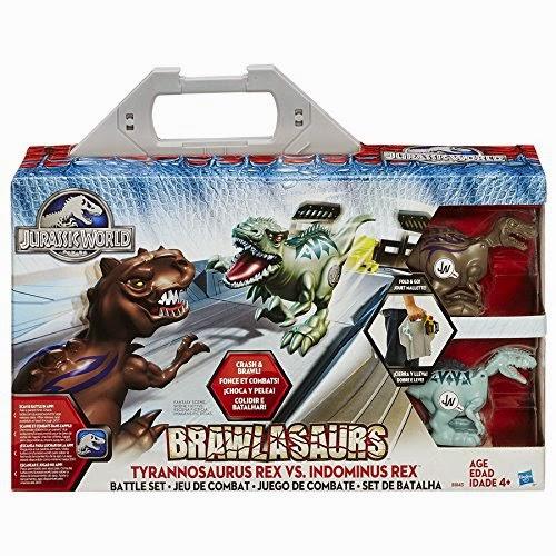 JUGUETES - JURASSIC WORLD - Brawlasaurs   Tyrannosaurus Rex vs. Indominus Rex | Set de Batalla | Combate  Producto Oficial Película 2015 | Jurassic Park | Hasbro B1843   A partir de 4 años