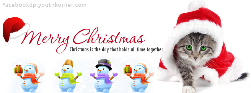 Merry Christmas fb cover with cat