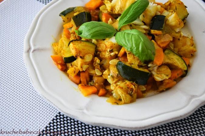 Dorsz zapieczony z warzywami