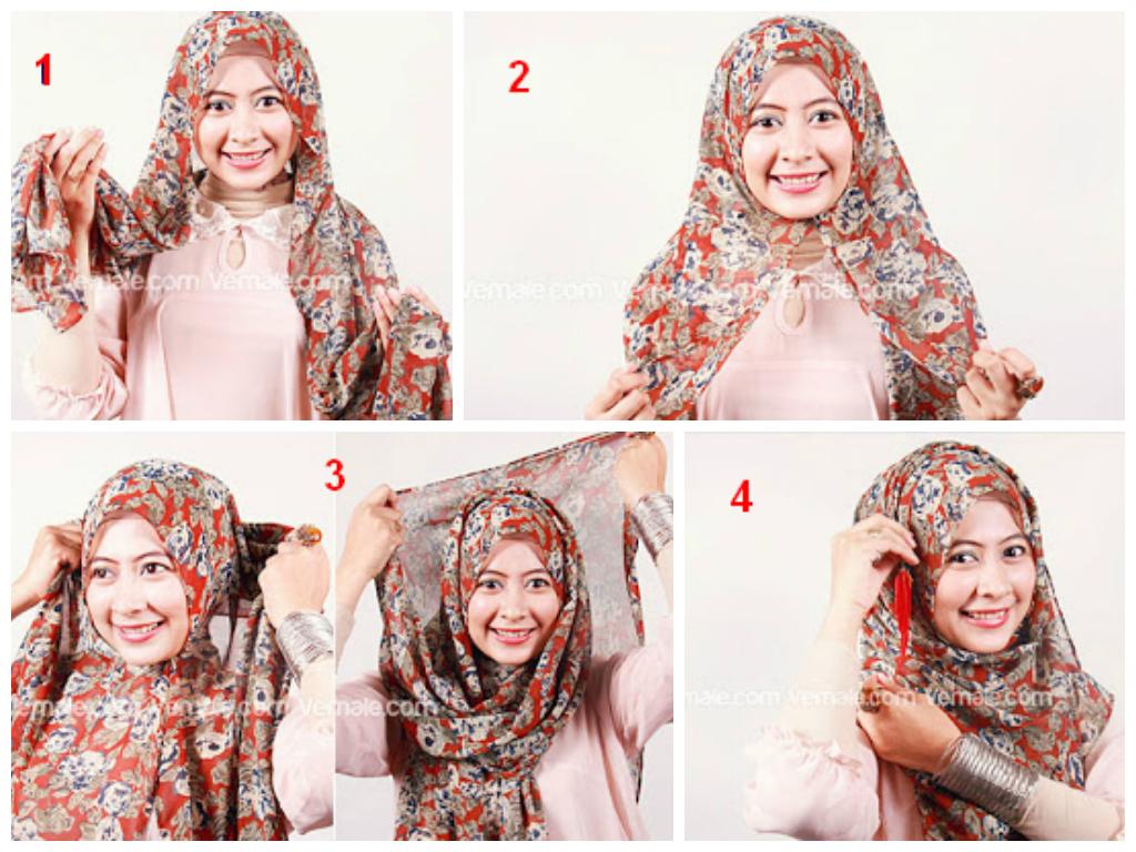 Cara Memakai Jilbab Pashmina Chiffon Motif Modern