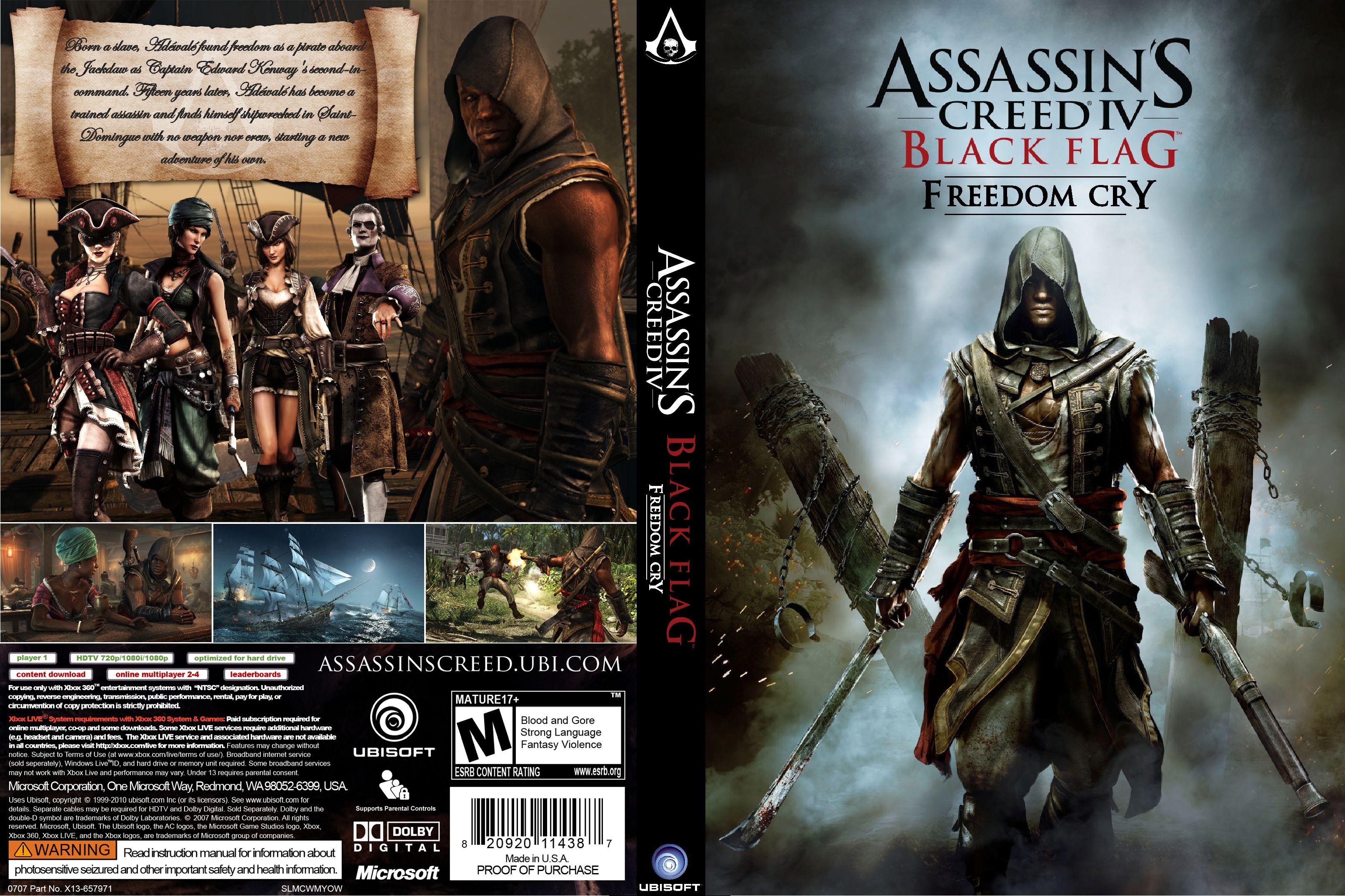 Capa Assassins Creed Black Flag Freedom Cry Xbox 360