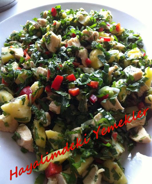 Patatesli Tavuk Göğsü Salatası nasıl yapılır, resimli tavuk Göğsü SalatasıTarifi