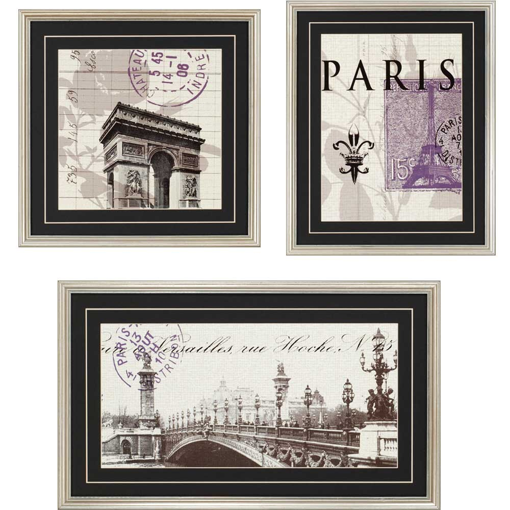 Paris paris wall art for Wall of framed pictures