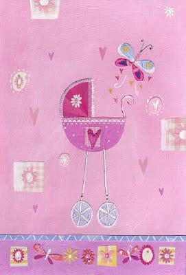 carrito de bebe rosa decoraciones para niños y niñas