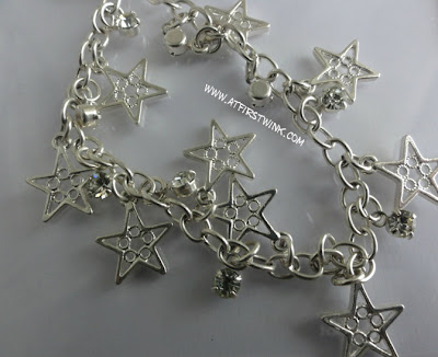 silver bracelet with star charms