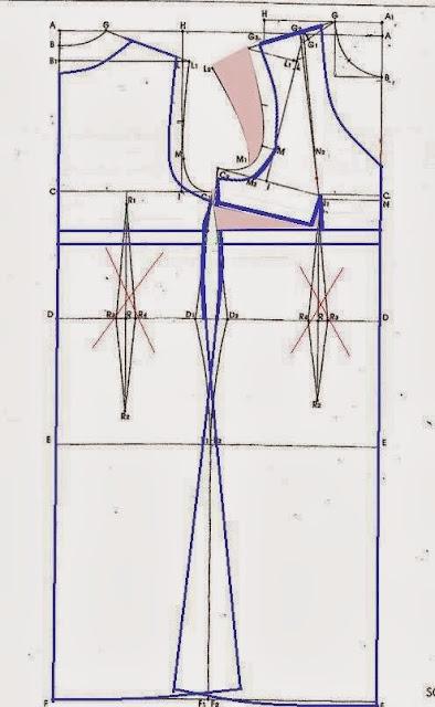 abito in maglina,modello base per abito in maglina,cartamodello per abito in maglina,abito su misura base,abito tagliato sotto seno su misura,carta modello di abito su misura.