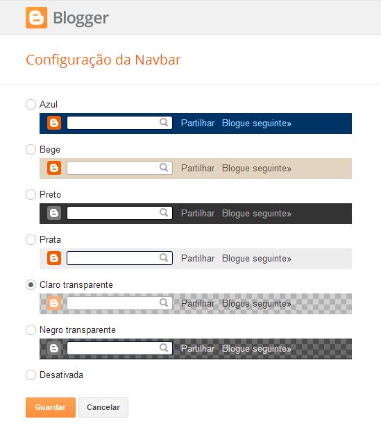 Configuração da Navbar do Blogger