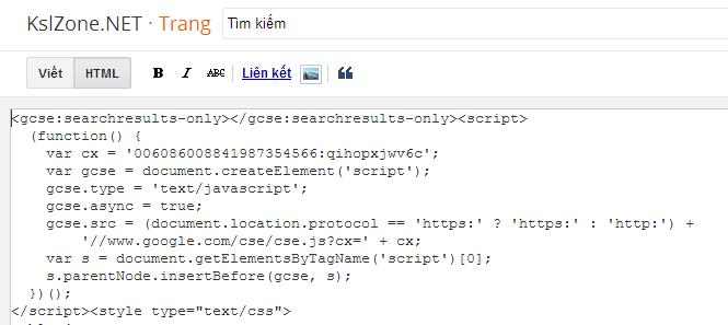 Thêm công cụ tìm kiếm tùy chỉnh của google vào Blogger