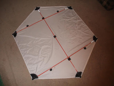 assembled rokkaku kite, ready to fly