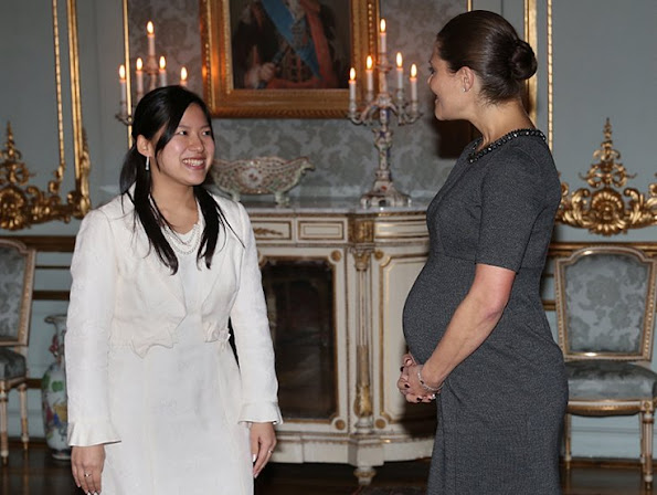 Crown Princess Victoria of Sweden met with Princess Ayako of Takamado at the Royal palace in Stockholm