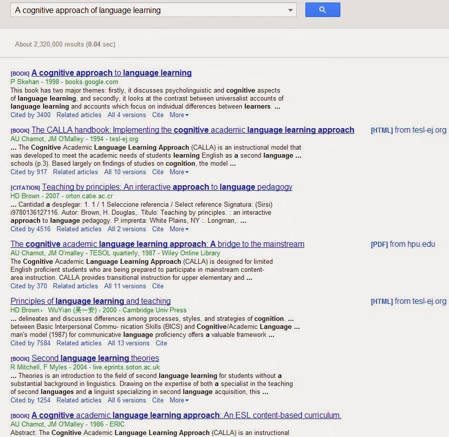 google scholar research  u0026quot a cognitive approach of language