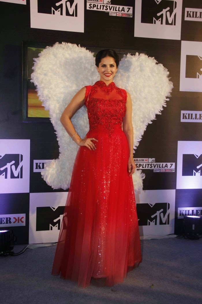 Actress Sunny Leone Hot and Bold Photos in Red Prom Dress MTv Splitsvilla