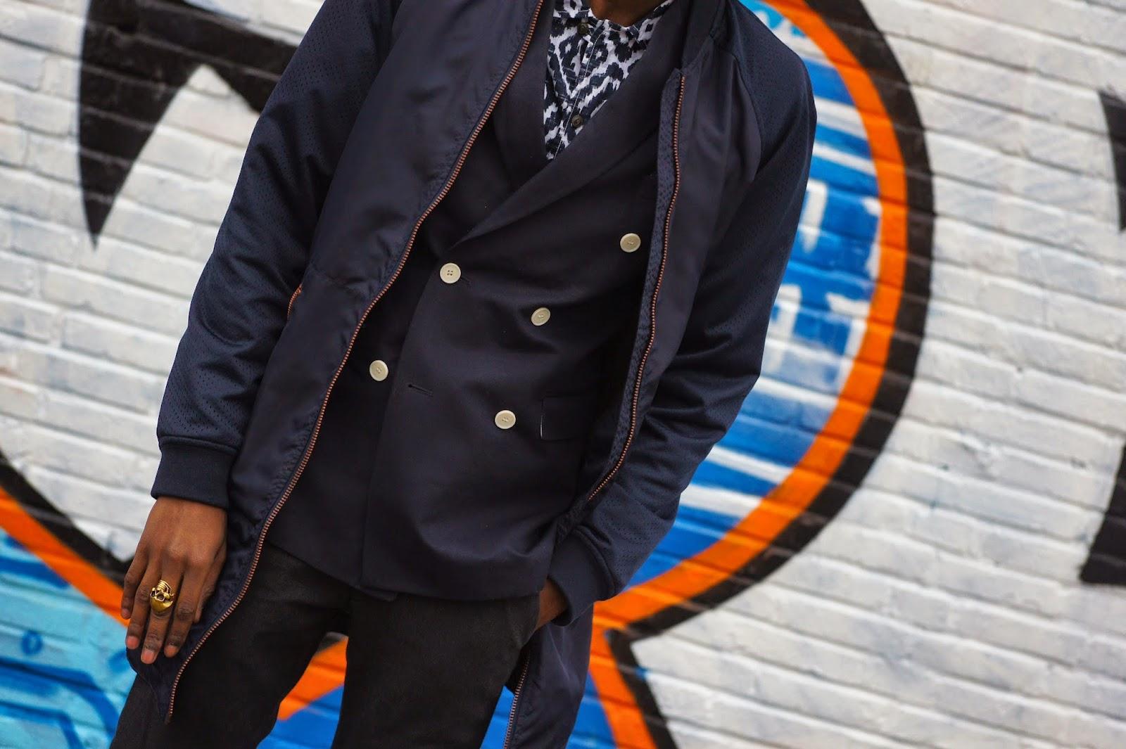 Dapper Hot Boy with Blue  Long Bomber wefashion double brest blazer h&m