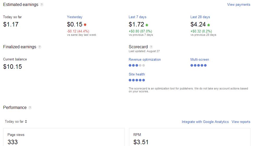 pencapaian google adsense
