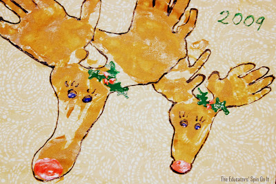 hand print reindeer, Christmas craft
