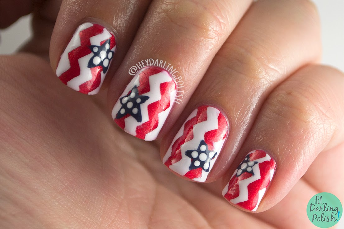 nails, nail art, nail polish, red, white, blue, 4th of july, patriotic, america, chevrons, stars, hey darling polish, theme buffet