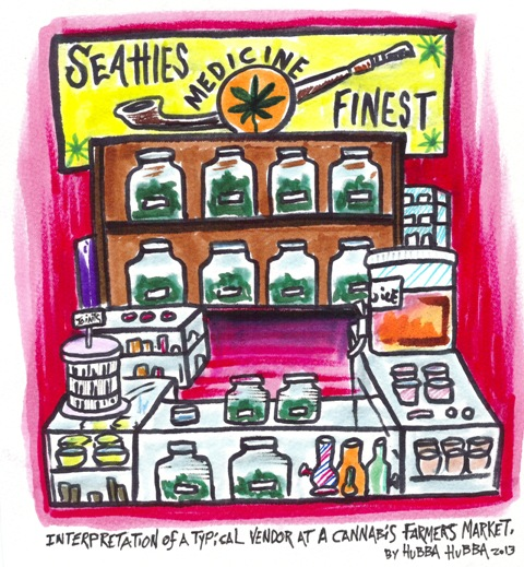 Illustration by Hubba Hubba - Interpretation of a typical vendor's booth at a cannabis farmers market