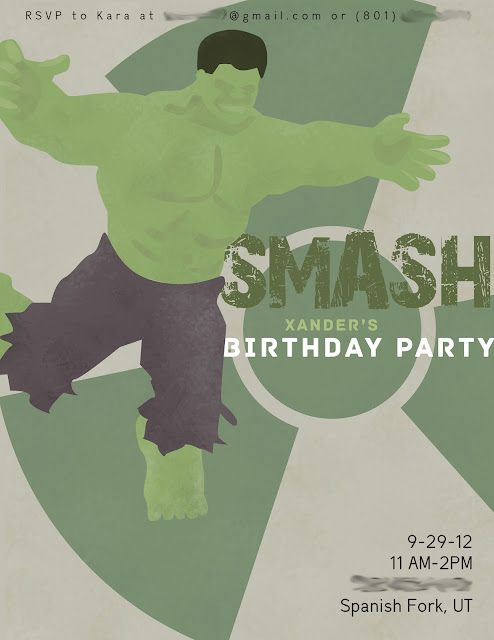 Graphic super hero birthday party invite The Incredible Hulk