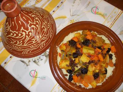 Tajín de verduras con cuscús.