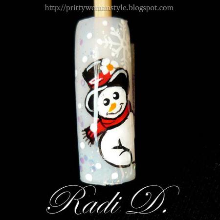 Зимен дизайн на нокти Снежен човек