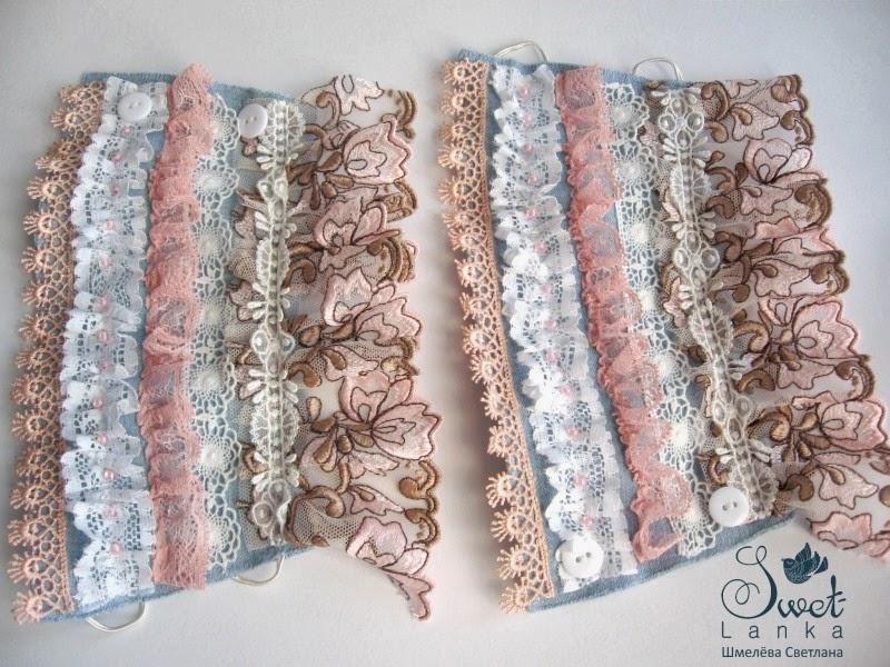 текстильные браслеты из джинса и кружева