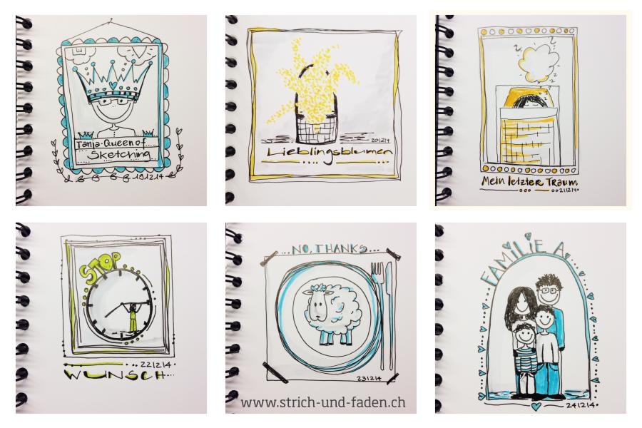 mit Strich und Faden | Adventskalender Doodle Sketch Sketchattack
