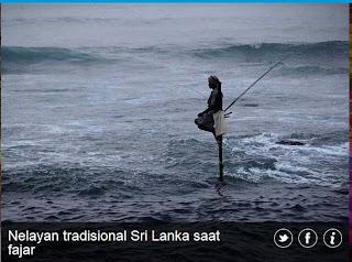 inovLy media : Nelayan tradisional Sri Lanka saat fajar