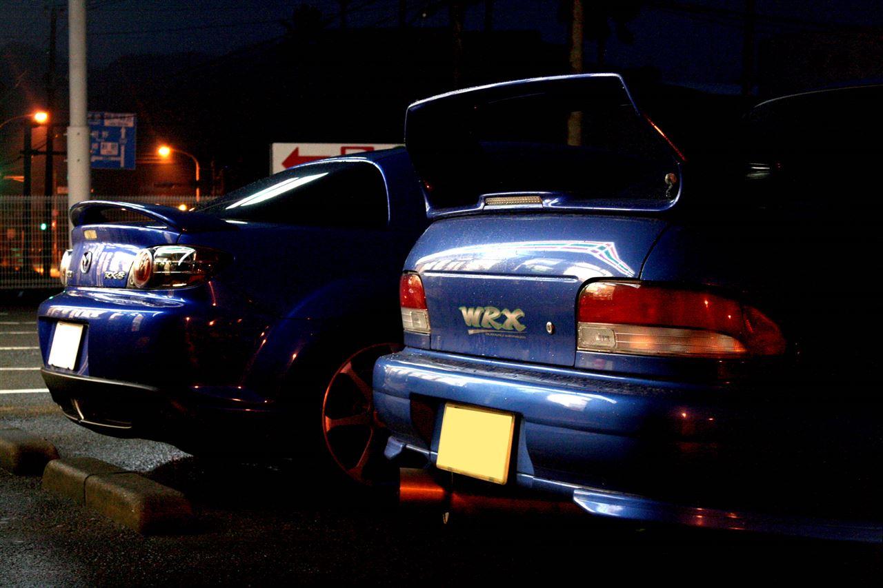 Mazda RX-8 & Subaru Impreza WRX GC, zdjęcia po zachodzie słońca, samochody, auta, japońskie sportowe, JDM, tuning, zdjęcia, fotki, sedan