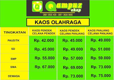 Daftar harga (pricelist) kaos seragam olahraga termurah surabaya, daftar harga baju seragam olahraga terbaru, pricelist kaos seragam olahraga promosi surabaya