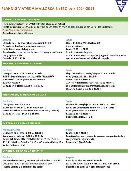 Planning viatge 2014-2015