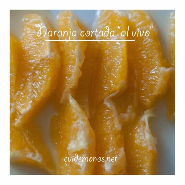 naranja cortada al vivo
