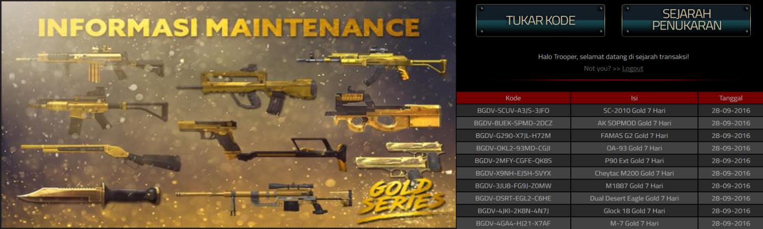 Redeem Code Gold Series 2016