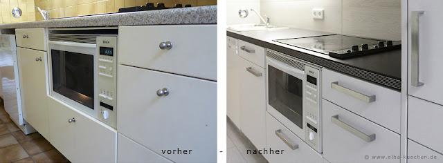 Neue Fronten und Griffe , neuer Fliesenspiegel und neue Arbeitsplatte - eine moderne Küche wie neu