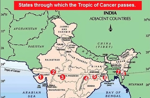 Tropic of cancer passes through which states of india india gk at the time of the northern solstice when the northern hemisphere is tilted toward the sun to its maximum extent it lies at 23 north of the equator gumiabroncs Image collections