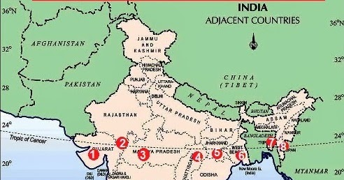 Tropic of Cancer passes through which states of India ~ India GK ...